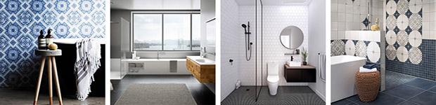 vier verschiedene Badezimmer