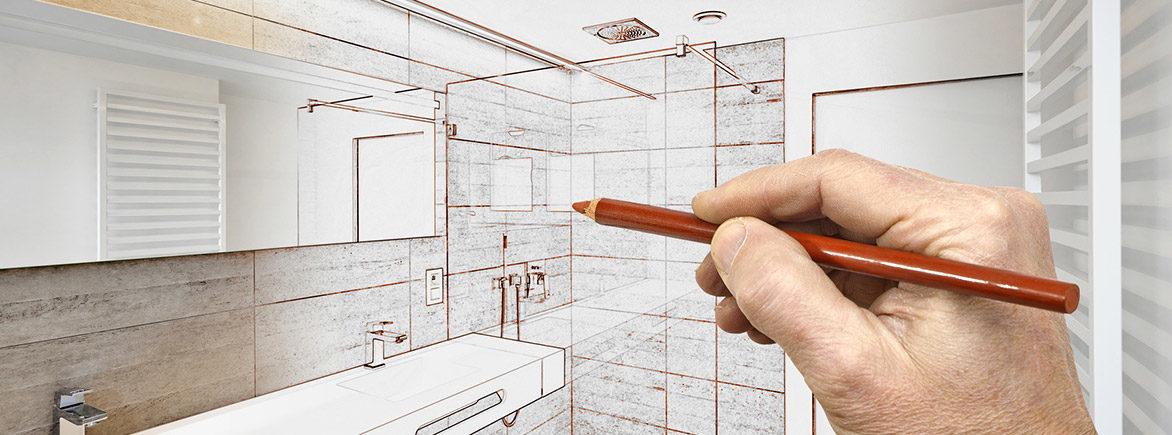 Hand zeichnet Badezimmer mit Rötelstift